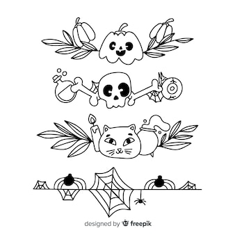 Coleção com borda de halloween desenhada de mão
