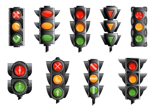 Coleção com semáforos isolados no branco