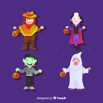 Coleção com trajes de criança em aquarela de halloween