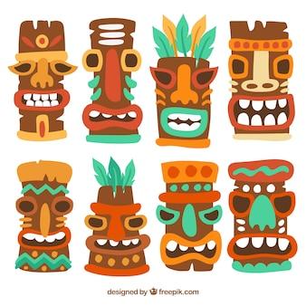 Coleção com variedade de máscaras tiki