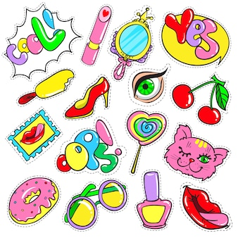 Coleção comic colorful patches