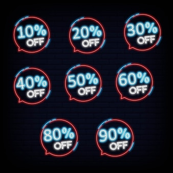 Coleção conjunto desconto neon bandeira luz banner design elemento colorido design moderno tendência noite brilhante publicidade sinal brilhante