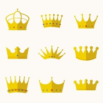 Coleção coroas em design plano