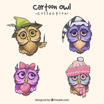 Coleção coruja de desenho animado