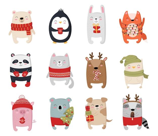 Coleção criativa de animais fofos para o ano novo ilustração em vetor cartoon doodle isolado