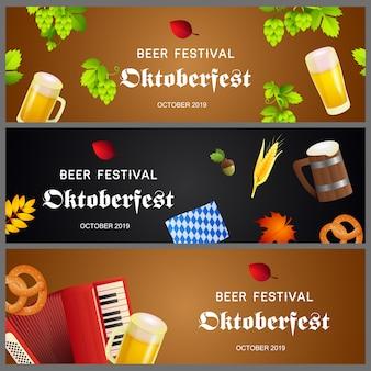 Coleção criativa de banner para o festival de cerveja