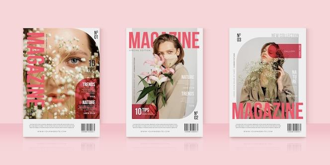 Coleção criativa de capa de revista com foto