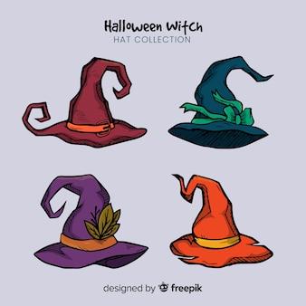 Coleção criativa de chapéus de bruxa de halloween
