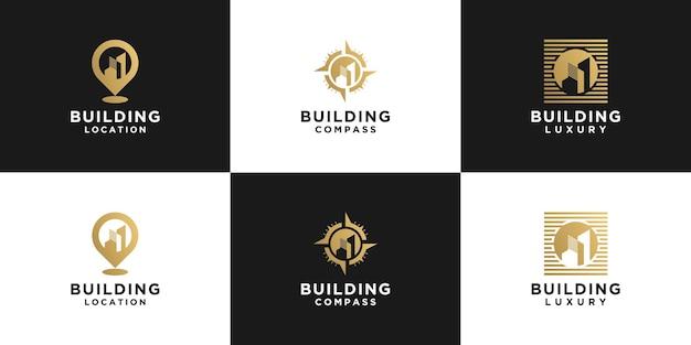 Coleção criativa de logotipos de edifícios, edifícios de localização e edifícios de bússola