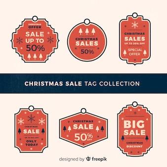 Coleção criativa de tags de venda de natal