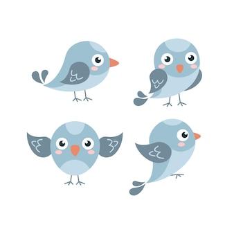 Coleção cute flat blue sparrow