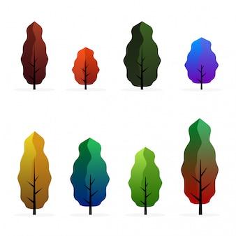 Coleção da árvore ajustada na fantasia no isolado. conjunto de árvore em design plano.