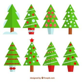 Coleção da árvore de natal no design plano