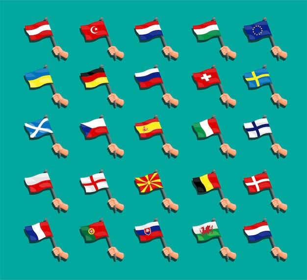 Coleção da bandeira do euro com a mão da bandeira dos países nacionais europeus