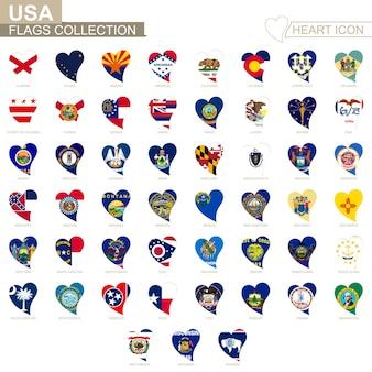 Coleção da bandeira do vetor dos estados dos eua. conjunto de ícones de coração.