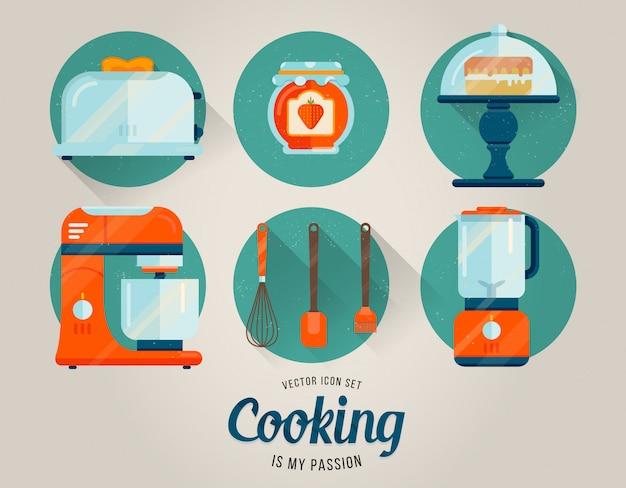 Coleção da cozinha do vetor de ícones gráficos.