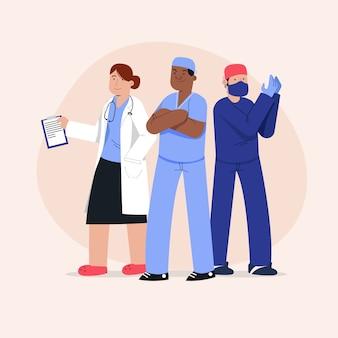 Coleção da equipe de profissionais de saúde