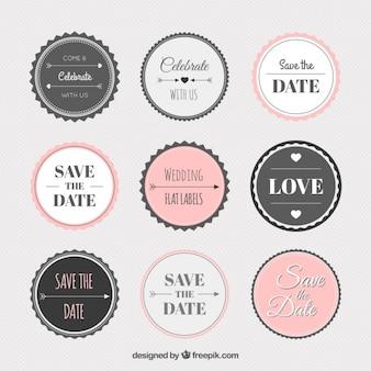 Coleção da etiqueta do casamento do vintage