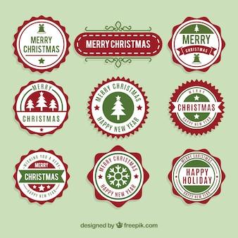 Coleção da etiqueta redonda do feliz natal
