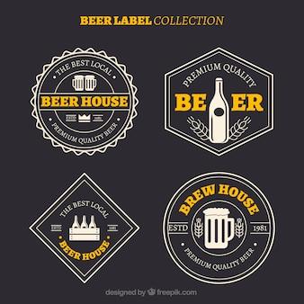 Coleção da etiqueta retro da cerveja