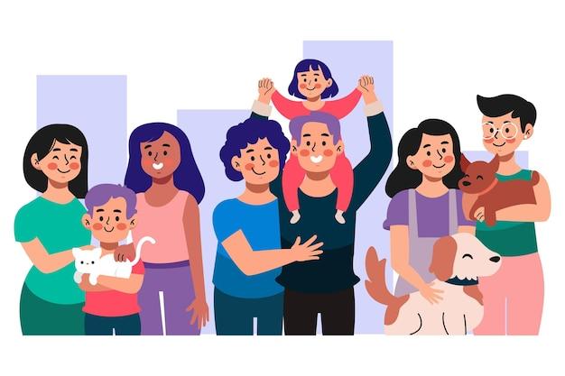 Coleção da família do dia do orgulho dos desenhos animados