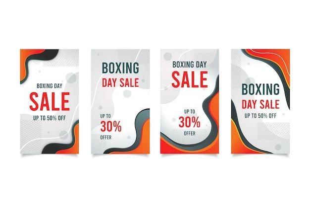 Coleção da história do instagram da venda do dia de boxe