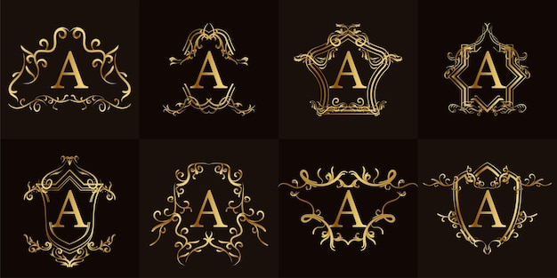 Coleção da inicial a do logotipo com ornamento de luxo ou moldura de flor