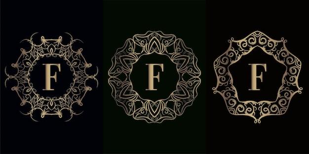 Coleção da inicial do logotipo com moldura de ornamento de mandala de luxo