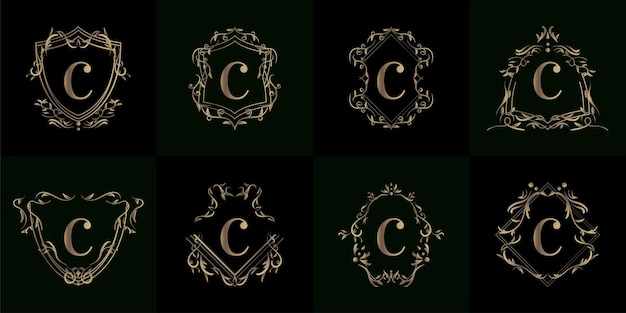 Coleção da inicial do logotipo com ornamento de luxo ou moldura de flor