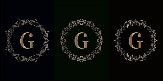 Coleção da inicial do logotipo g com moldura de mandala de luxo