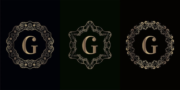 Coleção da inicial do logotipo g com moldura de ornamento de mandala de luxo
