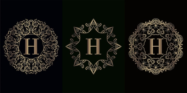 Coleção da inicial do logotipo h com moldura de ornamento de mandala de luxo