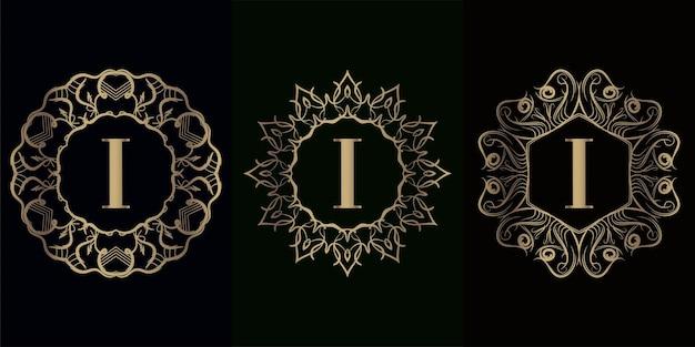 Coleção da inicial do logotipo i com moldura de ornamento de mandala de luxo