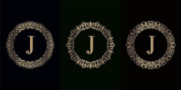 Coleção da inicial do logotipo j com moldura de ornamento de mandala de luxo