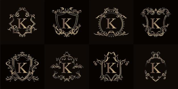 Coleção da inicial do logotipo k com ornamento de luxo ou moldura de flor