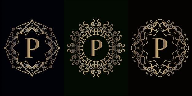 Coleção da inicial do logotipo p com moldura de ornamento de mandala de luxo