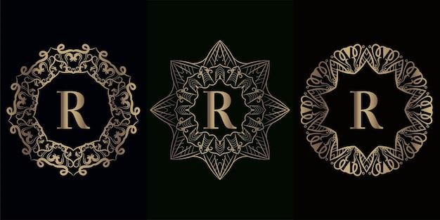 Coleção da inicial do logotipo r com moldura de ornamento de mandala de luxo