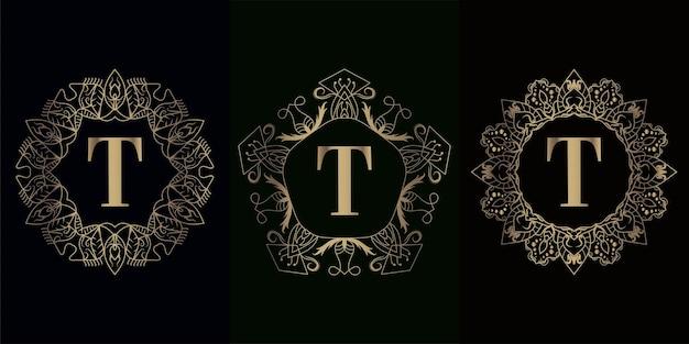 Coleção da inicial do logotipo t com moldura de ornamento de mandala de luxo