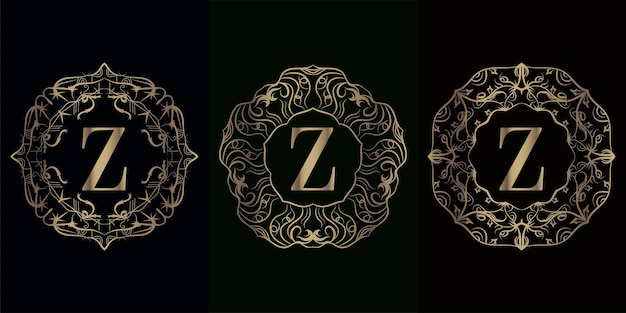 Coleção da inicial do logotipo z com moldura de ornamento de mandala de luxo