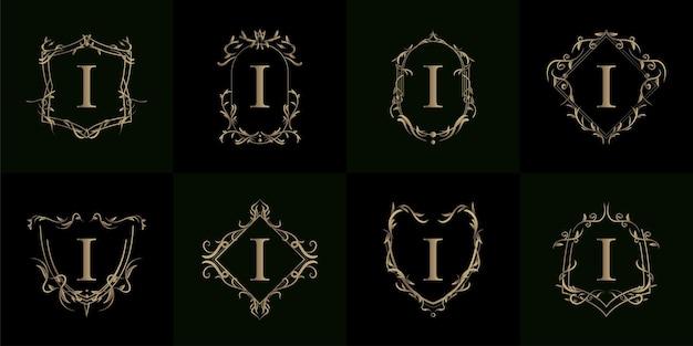 Coleção da inicial i do logotipo com enfeite de luxo ou moldura de flor
