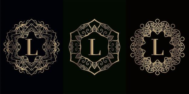 Coleção da inicial l do logotipo com moldura de ornamento de mandala de luxo