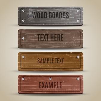 Coleção da placa de madeira