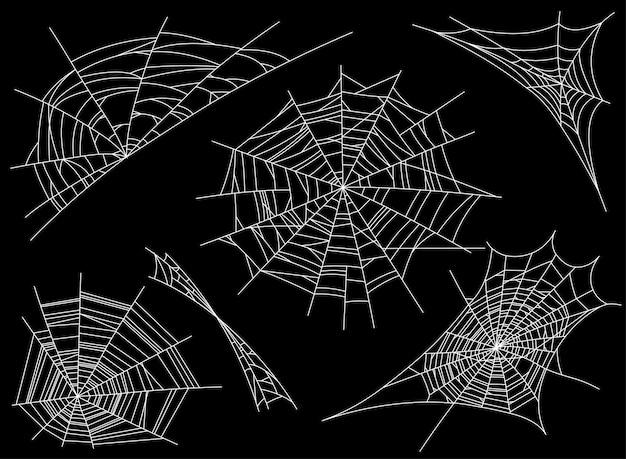 Coleção da teia de aranha, isolada no preto. teia de aranha. assustador, assustador, horror decoração