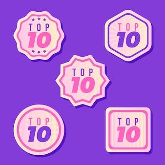 Coleção das 10 melhores etiquetas