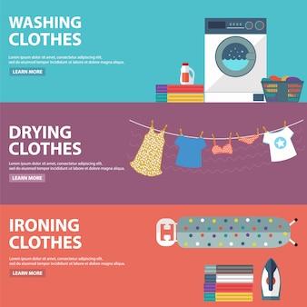 Coleção das bandeiras de lavandaria