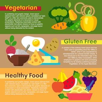 Coleção das bandeiras do alimento saudável