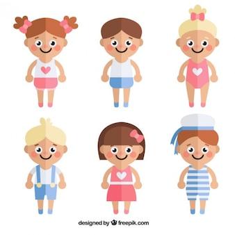 Coleção das crianças bonitos em design plano