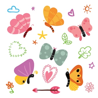 Coleção das ilustrações das borboletas