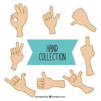 Coleção das mãos com gestos diferentes