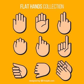 Coleção das mãos no design plano
